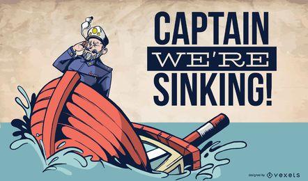 Capitán navegando el barco que se hunde