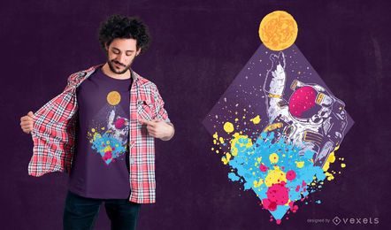 Diseño de camiseta de astronauta abstracto