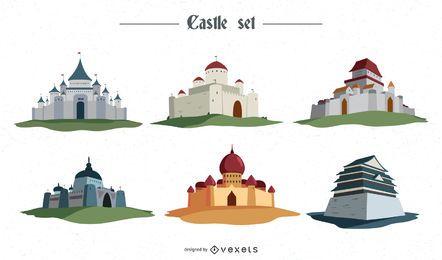 Conjunto de ilustrações de castelo