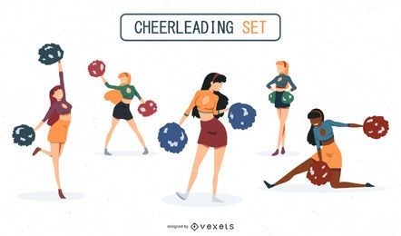 Cheerleaders Illustrations Set