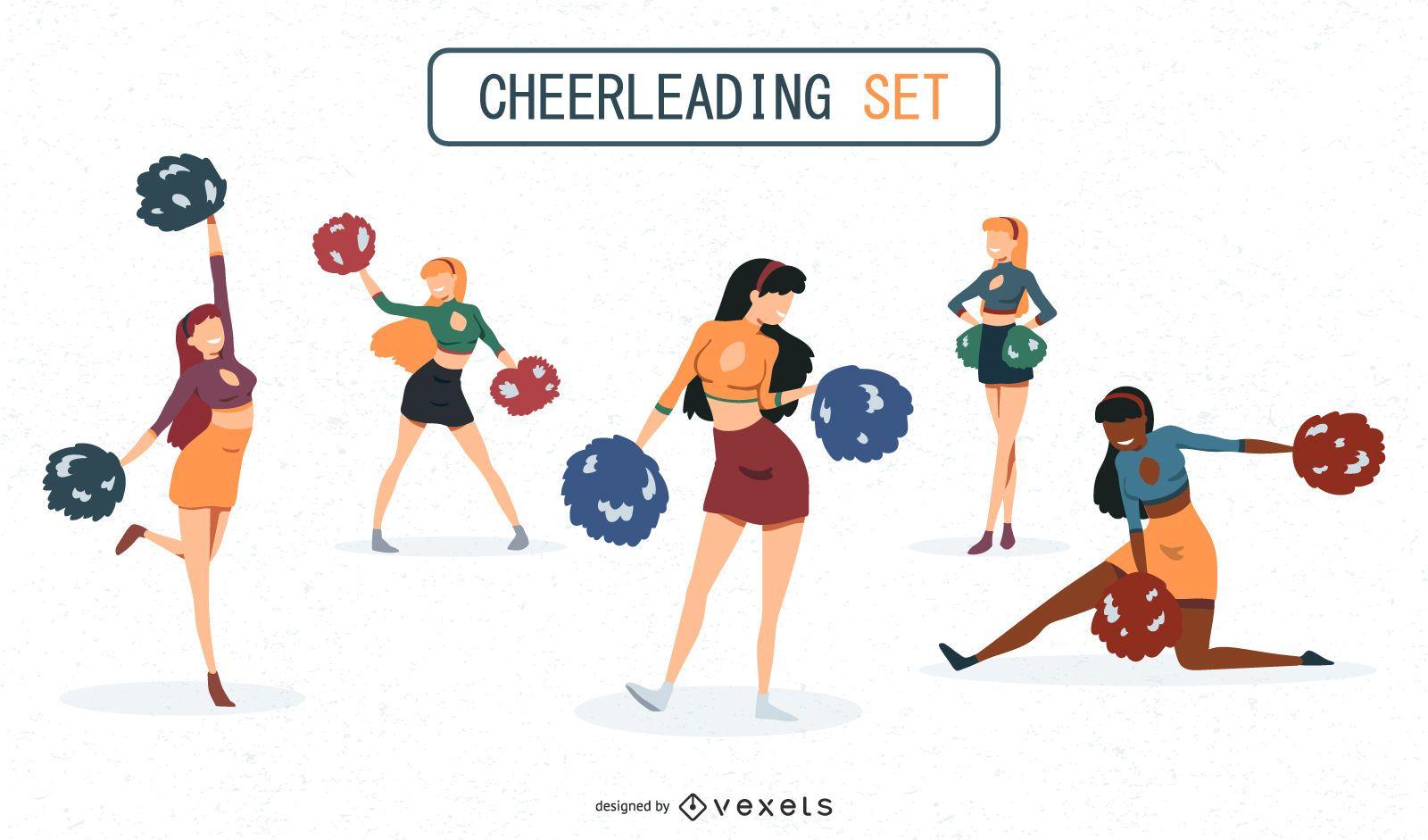 Cheerleaders Illustrations Set