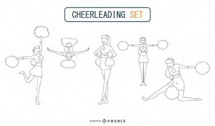 Outlined Cheerleaders Set