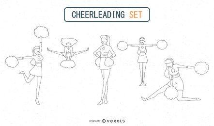 Umrissene Cheerleader eingestellt