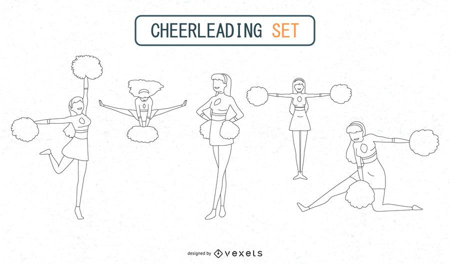 Outlined Cheerleaders Set