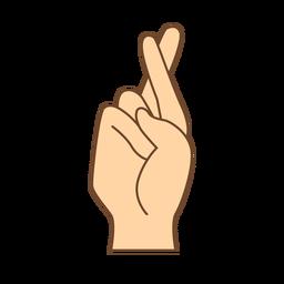 Mano dedo r letra r plana