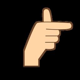 Hand finger t letter t flat