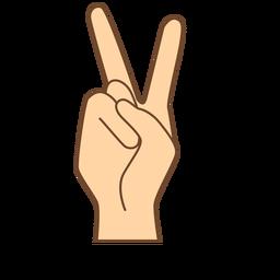Mão dedo v letra v plana