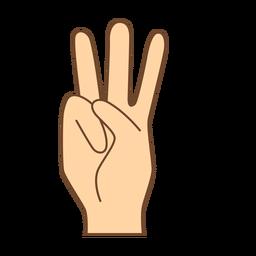 Mano dedo w letra w plana