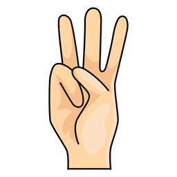 Mano dedo w letra w ilustración