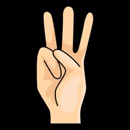Mão, dedo, w, letra, w, ilustração