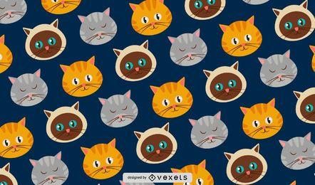 Patrón lindo de los gatos