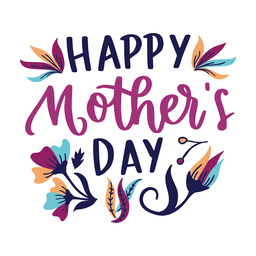 Etiqueta engomada inglesa feliz del texto de la flor del día de madre