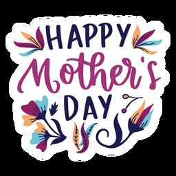 Etiqueta feliz do texto da flor do inglês do dia de mãe