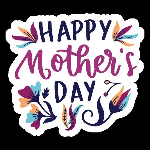 Etiqueta engomada inglesa feliz del texto de la flor del día de madre Transparent PNG