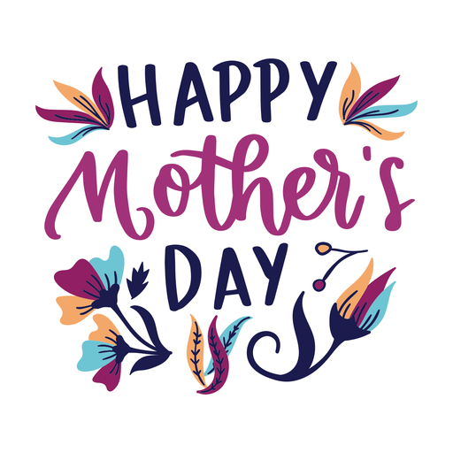 Happy mother's day english flower text sticker