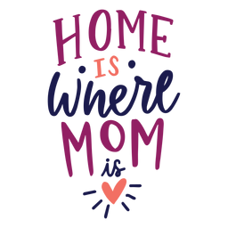 Home is where mom is english heart text sticker