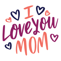 I love you mom english heart text sticker