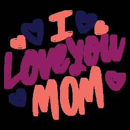 Ich liebe dich englischer Herz-Textaufkleber der Mutter