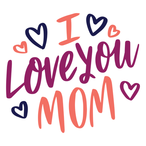 I love you mom english heart text sticker Transparent PNG