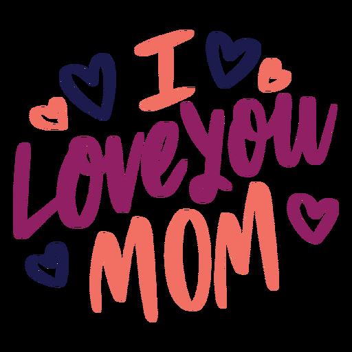Ich liebe dich englischer Herz-Textaufkleber der Mutter Transparent PNG