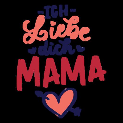 Ich liebe dich Mutter deutscher Herztextaufkleber Transparent PNG