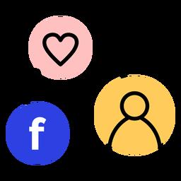 Curso de conexão de usuário de facebook de coração de ícone