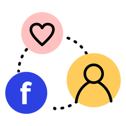 Icon heart facebook user connection stroke