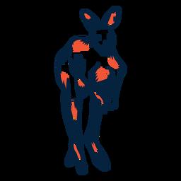 Canguro vista frontal duotono