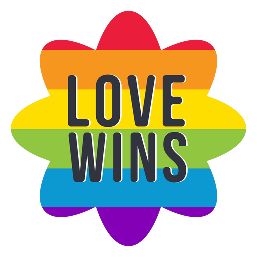 Love wins rainbow lgbt sticker Transparent PNG