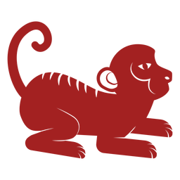 Monkey tail chinese astrology silhouette