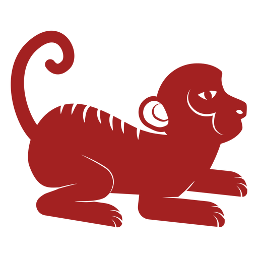 Monkey tail chinese astrology silhouette Transparent PNG