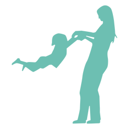 Mother child kid silhouette