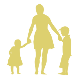 Mother daughter son child kid silhouette