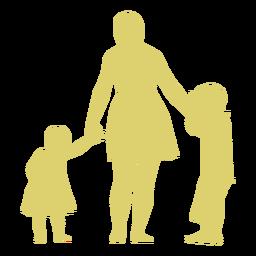 Muttertochter-Sohnkinderschattenbild