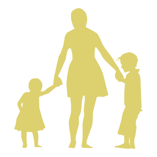 Mother daughter son child kid silhouette Transparent PNG
