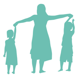 Mother daughter son child kid silhouette woman