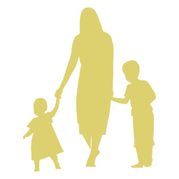 Mother daughter son kid child silhouette