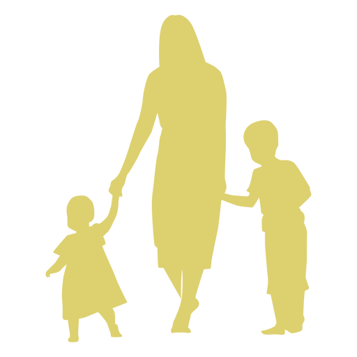 Mother daughter son kid child silhouette Transparent PNG