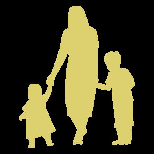 Mutter Tochter Sohn Kind Kind Silhouette Transparent PNG