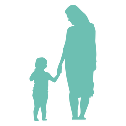 Mother kid child silhouette