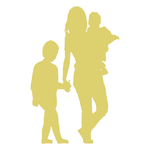 Mother kid daughter son child silhouette Transparent PNG
