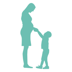 Mother pregnancy son child kid silhouette