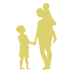 Mother son daughter child kid silhouette