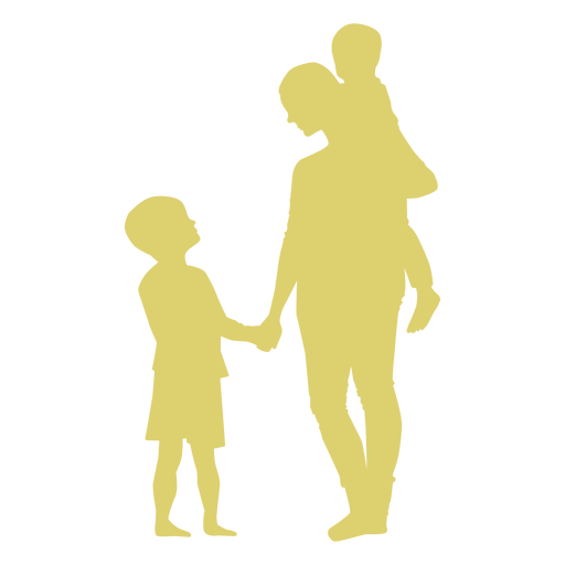Mother son daughter child kid silhouette Transparent PNG