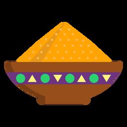 Prato tigela de mingau de cereal em pó plana
