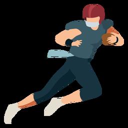Bola de jogador correndo roupa de capacete de futebol plana
