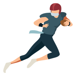 Jugador de pelota corriendo traje de casco de fútbol plano