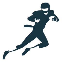 Equipamento de bola de capacete de jogador correndo silhueta de futebol