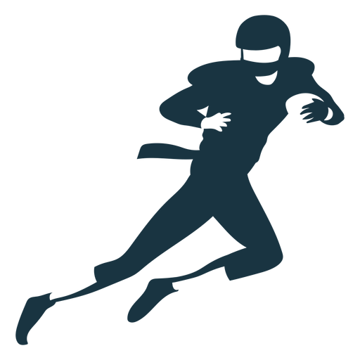 Jugador casco pelota equipo corriendo fútbol silueta