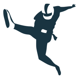 Jogador perna bola equipamento capacete futebol silhueta